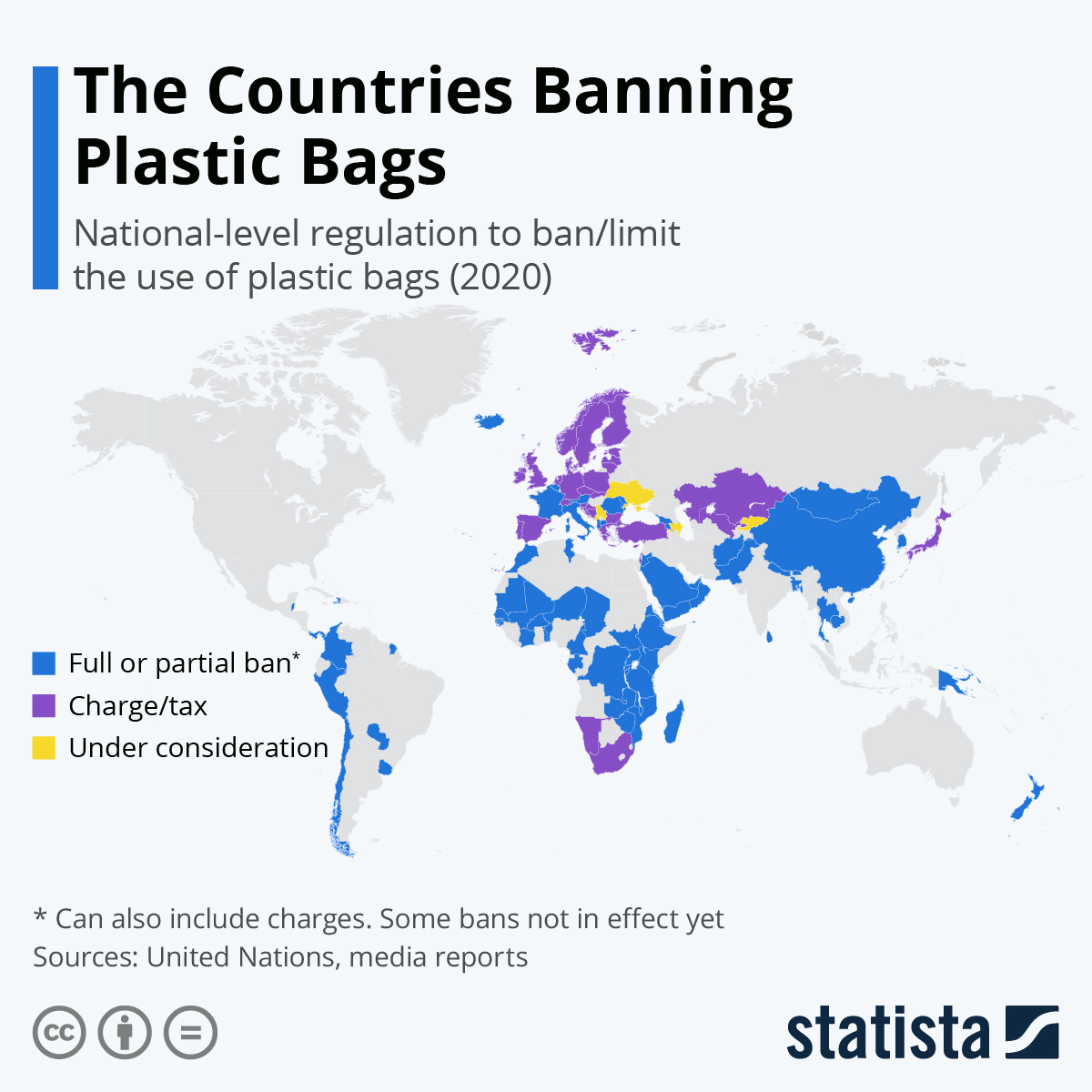 Interwaste - image of world map showing countries that have placed bans on plastic bags