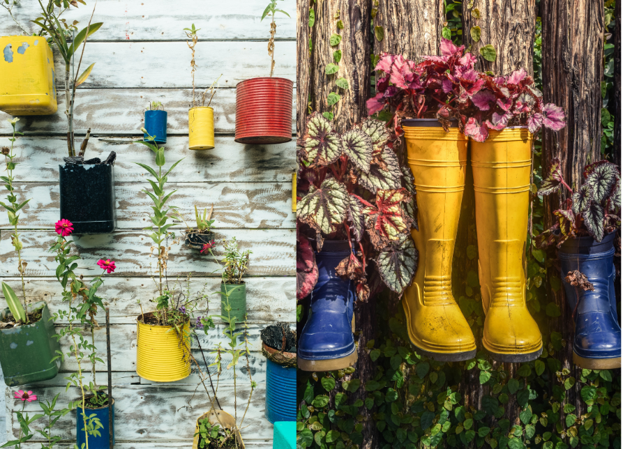 Image of tin cans and gumboots repurposed to hold flowers and herbs in a DIY garden.